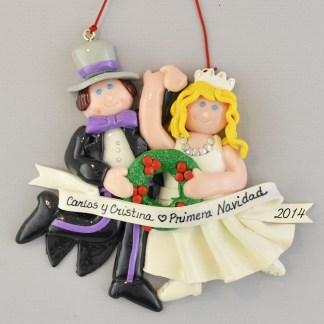 Bride (Blonde) and Groom Primera Navidad personalized christmas Ornaments
