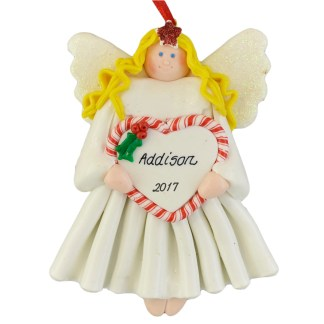 Blonde Angel personalized christmas ornaments