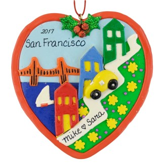 San Francisco Lombard Street personalized christmas ornaments