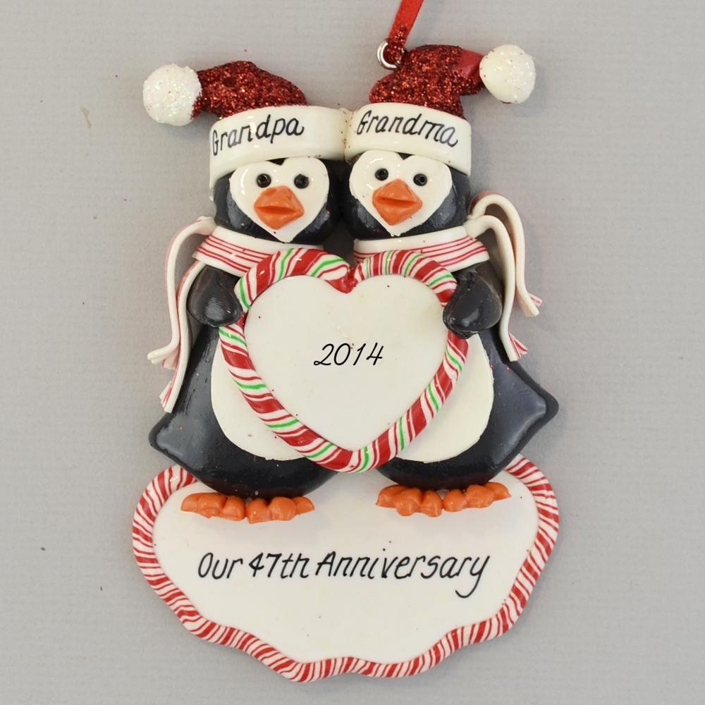 penguin anniversary christmas ornament
