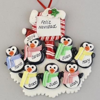 Penguin Family (7) Feliz Navidad personalized christmas Ornaments