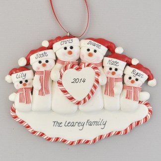 Family of Snowmen (6) Heart personalized christmas Ornaments