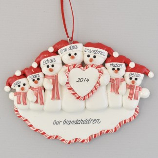 Gramps and Granny Snowcouple with Five Grandchildren Personalized christmas Ornaments