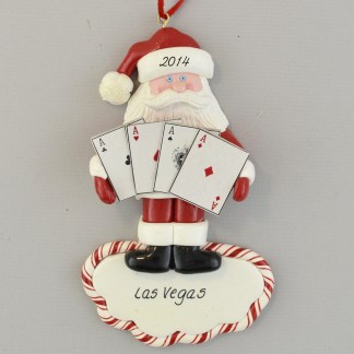 The Las Vegas Santa Playing Cards personalized christmas Ornaments