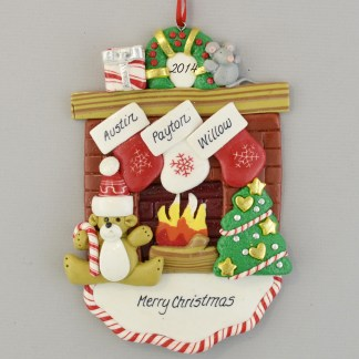 Fireplace Mantle with 3 Stockings personalized christmas Ornaments