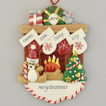 Fireplace Mantle with 4 Stockings personalized christmas Ornaments