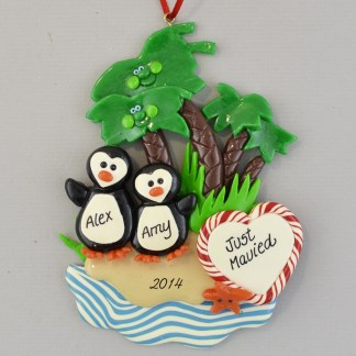Just Married Penguins under Palmtrees personalized christmas Ornaments