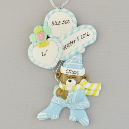 Baby Boy Birth Stats personalized christmas Ornaments
