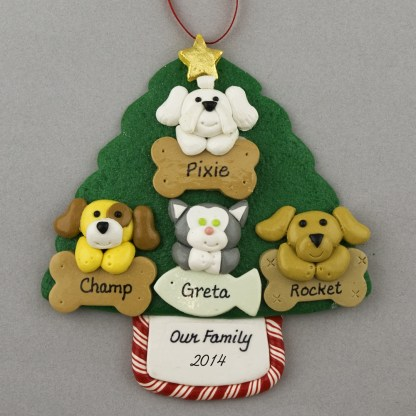 Four Pets on Tree Personalized Christmas Ornament