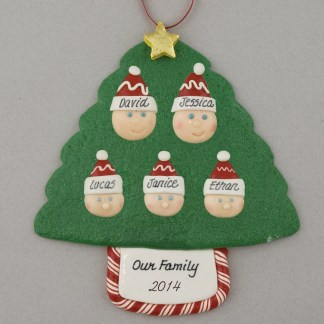 Family Tree of 5 Personalized Christmas Ornament