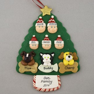 Our Family of 5 with 3 Pets Personalized Christmas Ornament