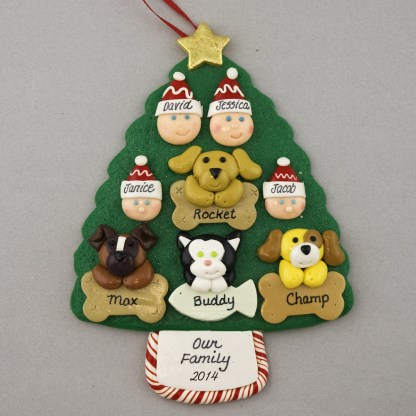 Our Family of 4 with 4 Pets Personalized Christmas Ornament