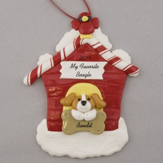 Beagle in Doghouse Personalized christmas Ornaments