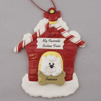 Bichon Frise in Dog House Personalized christmas Ornaments
