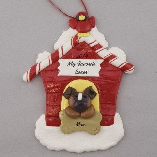 Boxer in Dog House Personalized christmas Ornaments