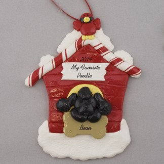 Black Poodle in Dog House Personalized christmas Ornaments