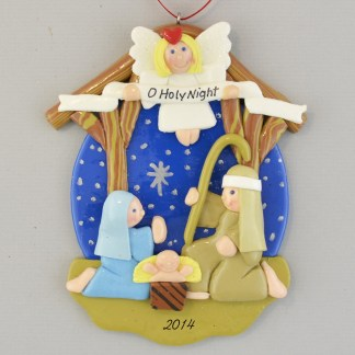 Nativity with Angel Personalized christmas Ornaments