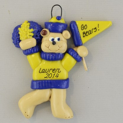 Bear Cheering for the Team Claydough Ornament