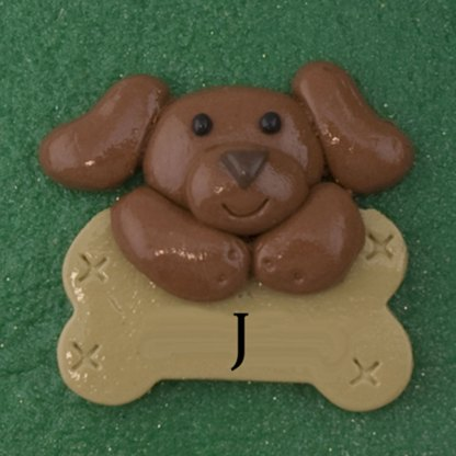 Pet dog brown with bone personalized christmas ornaments