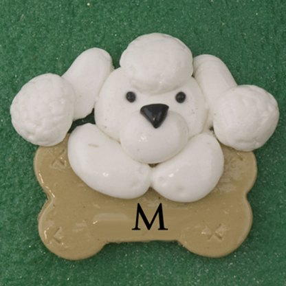 Pet dog white with bone personalized christmas ornaments
