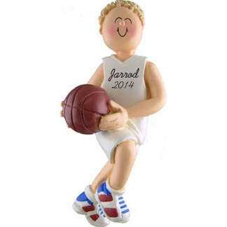 Basketball Boy Blonde Personalized christmas Ornaments