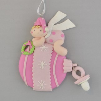Baby - Pink Bauble Personalized Christmas Ornament