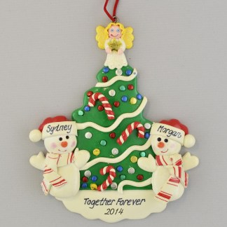 Snowman Partners by Christmas Tree Personalized Christmas Ornament