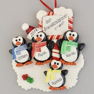 Two Grandchildren and Grandparents Personalized Christmas Penguin Ornament