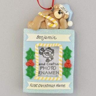 Baby Boy's Adoption Photo Frame Personalized Christmas Ornament