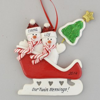 Twins Are Blessings Personalized Christmas Ornament