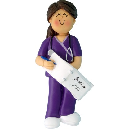 Nurse in Scrubs, Female Brunette Personalized Christmas Ornament