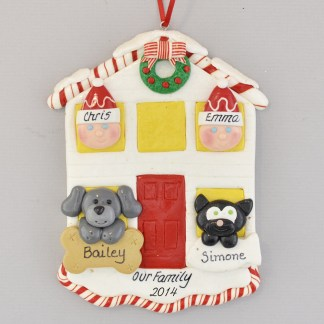 House for Couple with Two Pets Personalized Christmas Ornament