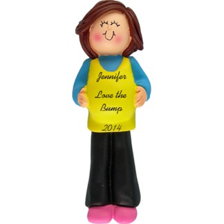 Pregnant Mom To Be: Brunette Personalized Christmas Ornament