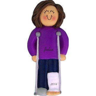 Crutches: Female Brown Personalized Christmas Ornament