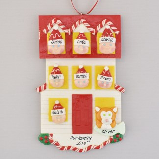 Personalized House christmas Ornament for Family of 7 with 1 Pet
