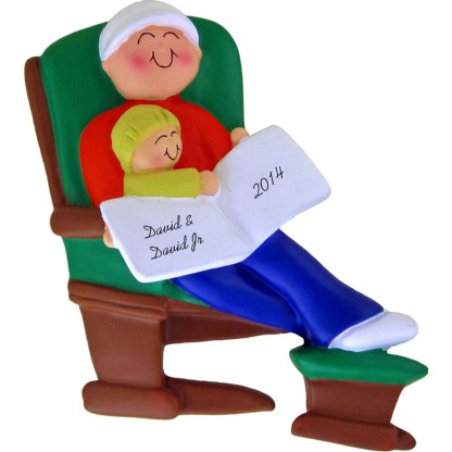Daddy or Grandpa and Child on Glider Personalized christmas Ornament