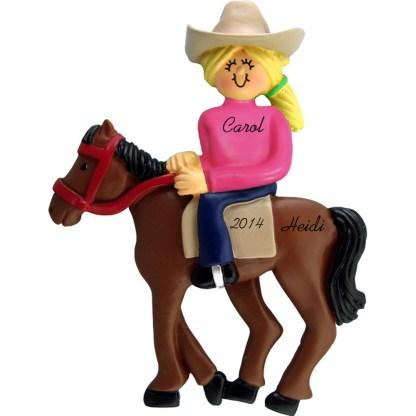 Horseback Riding: Female, Blonde Personalized christmas Ornament