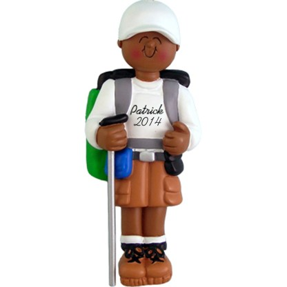 Hiker: Male Personalized christmas Ornament