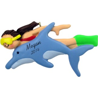 Swim with Dolphins: Female Brunette Personalized christmas Ornament