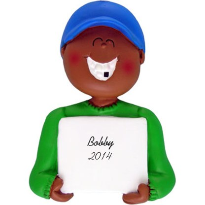 Lost A Tooth: Ethnic Boy Personalized christmas Ornament