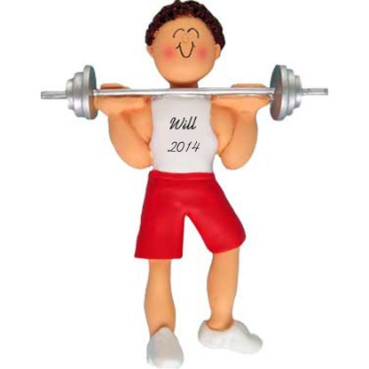 Weightlifter: Male Brunette Personalized christmas Ornament