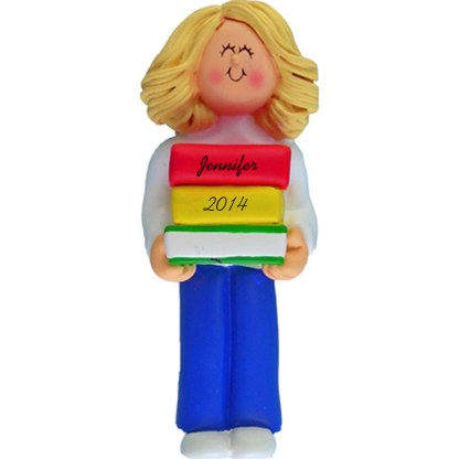 Reader: Blonde Girl Personalized christmas Ornament