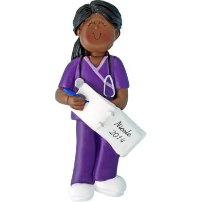 Scrubs Nurse: Female Personalized christmas Ornament