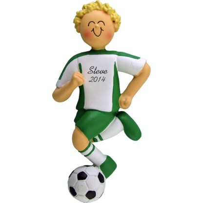 Soccer Dribbling Blonde Boy in Green Uniform Personalized christmas Ornament
