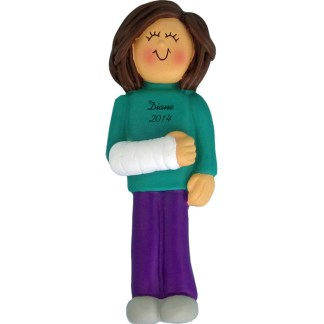 Cast on Arm: Brunette Female Personalized christmas Ornament