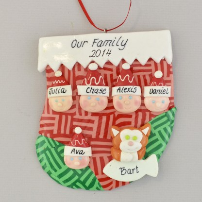 Family of 5 in stocking personalized christmas ornament