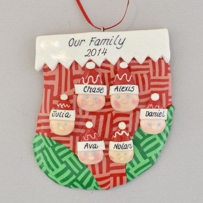 family of six in a stocking personalized christmas ornament