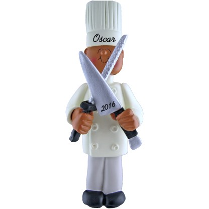 chef male african american personalized christmas ornament