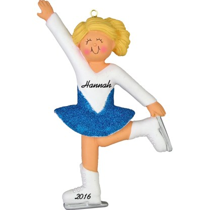 ice skater girl blonde personalized christmas ornament