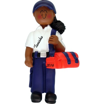 EMT female african american personalized christmas ornament